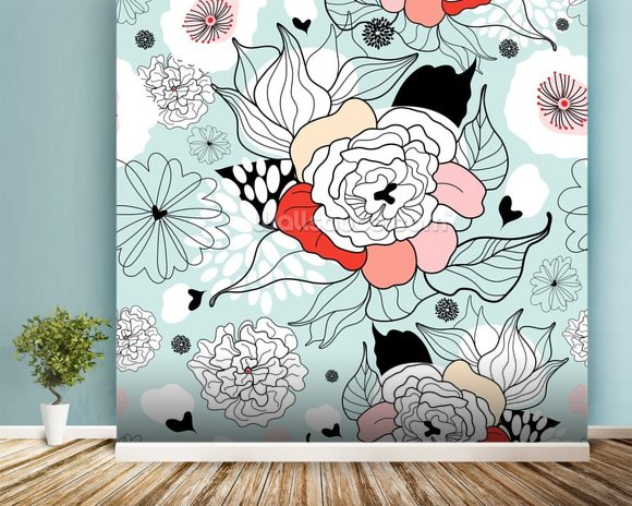Summer Flowers wall mural room setting