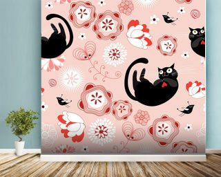 Floral - Cats and Flowers mural wallpaper