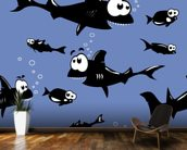 Funny Sharks wallpaper mural kitchen preview