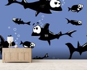 Funny Sharks wallpaper mural living room preview