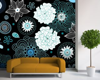 Floral - Black and Blue mural wallpaper