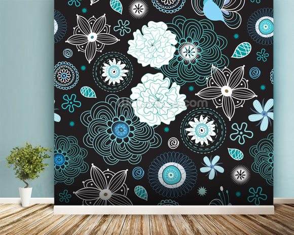 Floral - Black and Blue mural wallpaper room setting