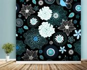 Floral - Black and Blue mural wallpaper in-room view