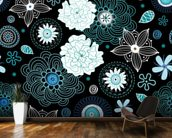 Floral - Black and Blue mural wallpaper kitchen preview