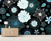 Floral - Black and Blue mural wallpaper living room preview