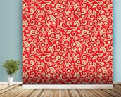 Floral - Red and Gold wallpaper mural in-room view