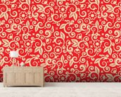 Floral - Red and Gold wallpaper mural living room preview
