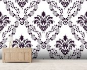 Damask - Blue wall mural living room preview