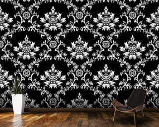 Damask - Black wallpaper mural