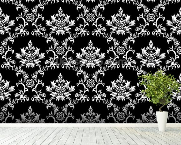 Damask - Black wallpaper mural room setting