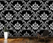 Damask - Black wallpaper mural kitchen preview