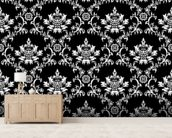 Damask - Black wallpaper mural living room preview