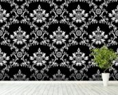 Damask - Black wallpaper mural in-room view