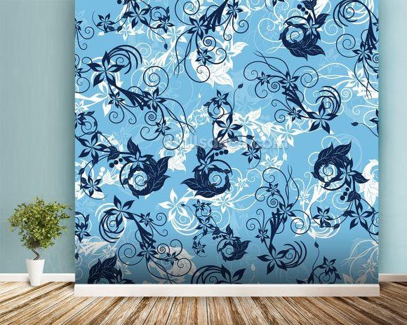 Floral - Blue mural wallpaper room setting
