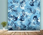 Floral - Blue mural wallpaper in-room view