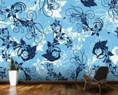 Floral - Blue mural wallpaper kitchen preview
