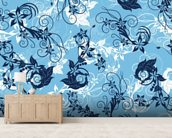 Floral - Blue mural wallpaper living room preview