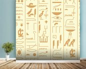 Hieroglyph illustration mural wallpaper in-room view