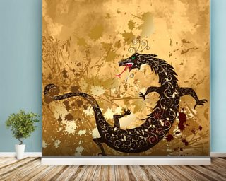 Dragon on a background grunge mural wallpaper