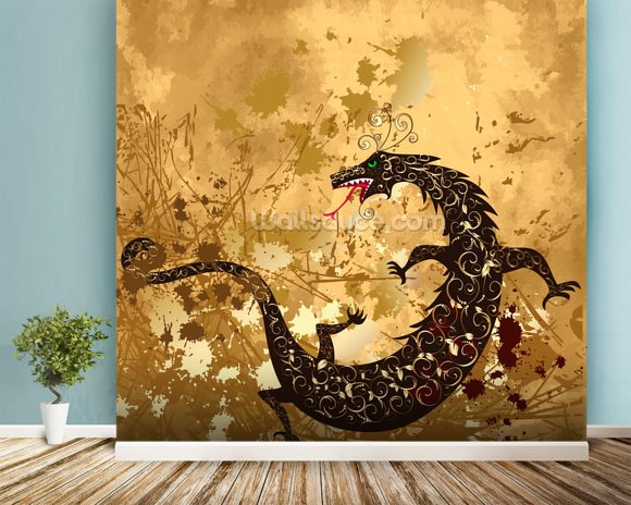 Dragon on a background grunge wallpaper wall mural wallsauce for Dragon mural for wall
