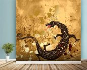 Dragon on a background grunge mural wallpaper in-room view