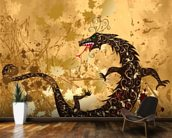 Dragon on a background grunge mural wallpaper kitchen preview