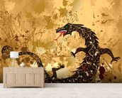 Dragon on a background grunge mural wallpaper living room preview