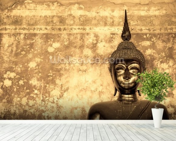 Buddha on Background wallpaper mural room setting