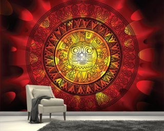 Maya calendar on a end of days background wallpaper mural