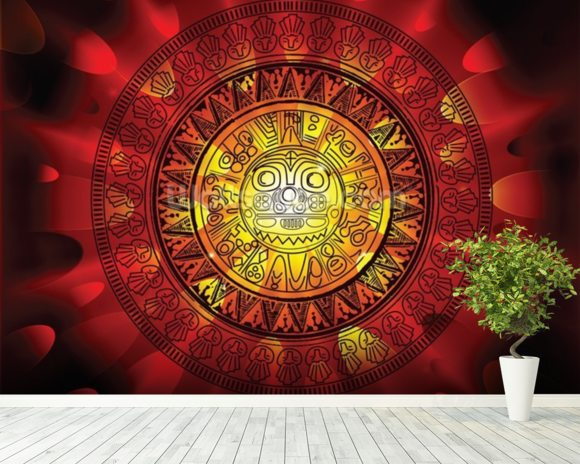 Maya calendar on a end of days background wallpaper mural room setting