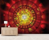 Maya calendar on a end of days background wallpaper mural living room preview