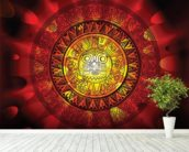 Maya calendar on a end of days background wallpaper mural in-room view