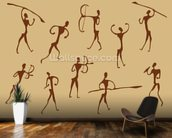 Cave Drawings Of Ancient Hunters wallpaper mural kitchen preview