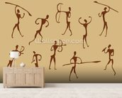 Cave Drawings Of Ancient Hunters wallpaper mural living room preview
