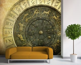 Vintage image of Venetian clock mural wallpaper
