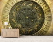 Vintage image of Venetian clock mural wallpaper living room preview
