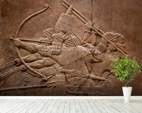 Ancient relief of Assyrian warriors fighting in the war wallpaper mural room setting