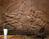 Ancient relief of Assyrian warriors fighting in the war wallpaper mural kitchen preview