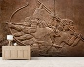 Ancient relief of Assyrian warriors fighting in the war wallpaper mural living room preview