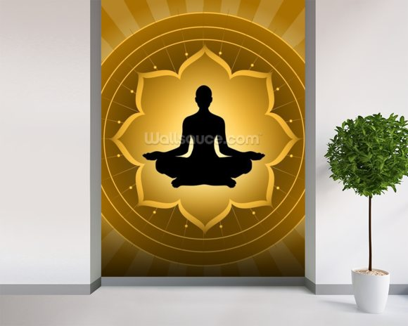 Yoga - Meditation On Lotus Background mural wallpaper room setting