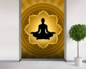 Yoga - Meditation On Lotus Background mural wallpaper in-room view