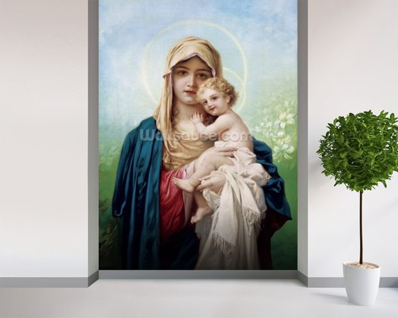 Madonna Maria wallpaper mural room setting