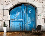 Wooden blue door in Madaba mural wallpaper kitchen preview