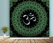 Fractal mandala aum mural wallpaper in-room view