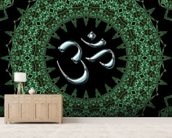 Fractal mandala aum mural wallpaper living room preview