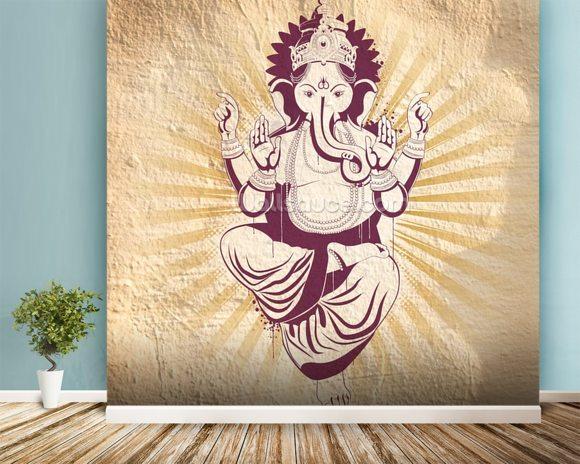Ganesha wallpaper wall mural wallsauce australia for Mural ganapathi