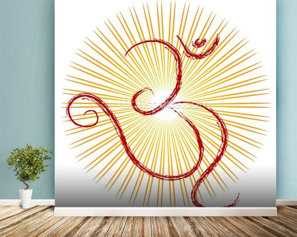 Om - the divine symbol of Hinduism wall mural room setting