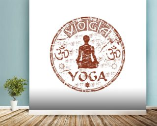 Brown grunge yoga rubber stamp mural wallpaper