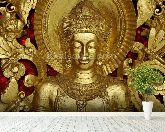 Buddha carving at temple luang prabang laos wallpaper for Buddha mural wallpaper