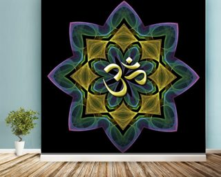 Fractal lotus aum wallpaper mural